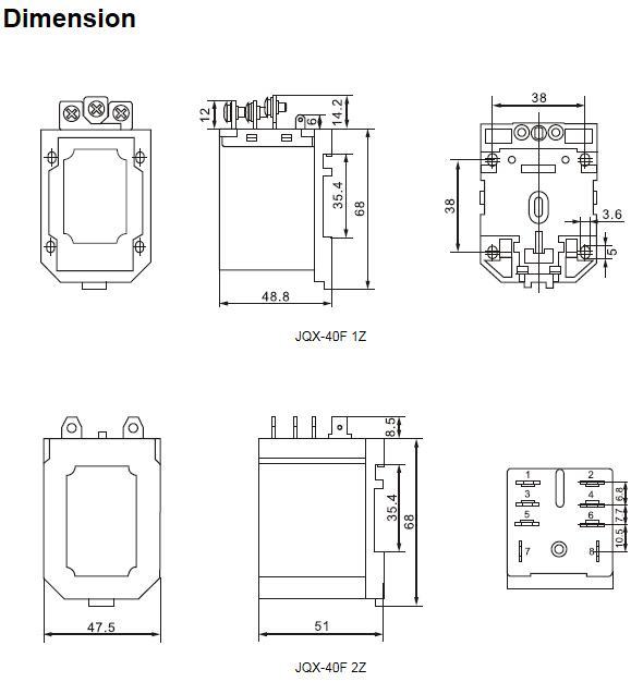 Power relay JQX-40 50A dimension.jpg